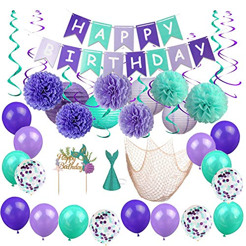 BYpamco Mermaid Party Decorations for Girls| Mermaid Party Supplies | Mermaid Banner, Mermaid Balloons, Lanterns, Fish Net, Pom Poms, Cake Toppers| Under The Sea Blue & Purple Nautical Decor -