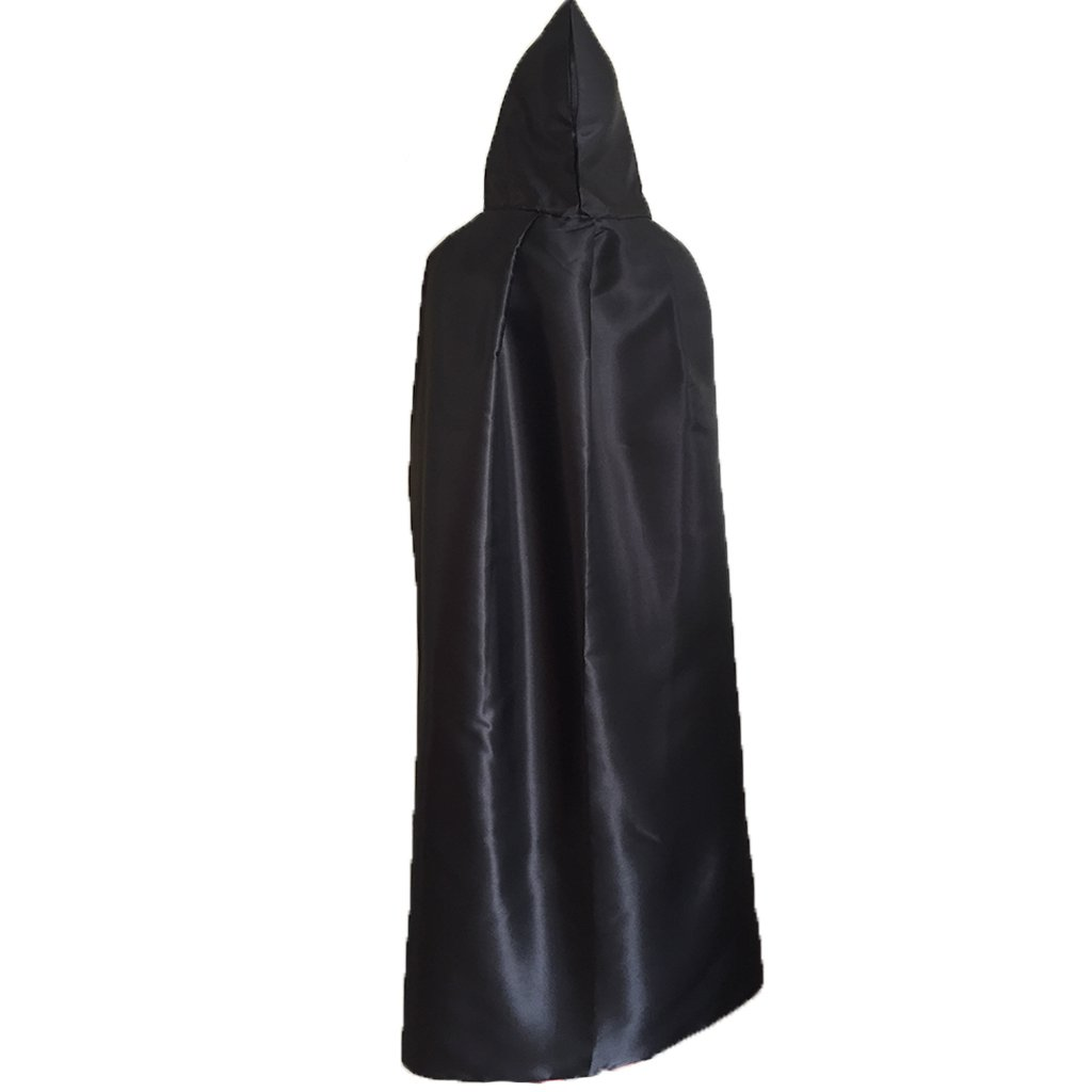 Charming House Halloween Unisex Hooded Long Cape Cloak Cosplay Costume (Black)