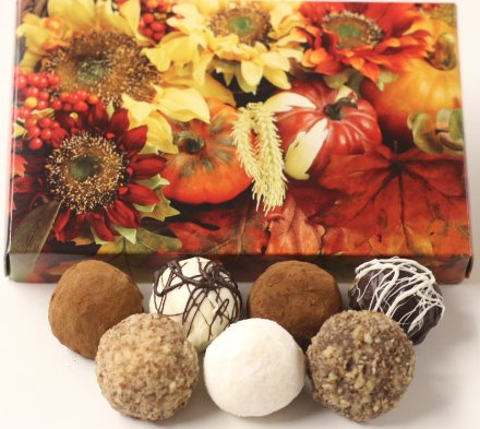Scott's Cakes Assorted Chocolate Truffles in a 1 Pound Fall Leaf Box - Fall Assorted Chocolates