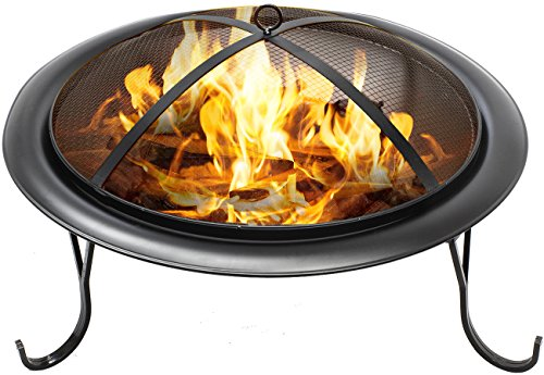 Sorbus Fire Pit 26', Portable Outdoor Fireplace, Backyard Patio Fire Bowl, Foldable Legs, - Includes Safety Mesh Cover, Poker Stick and Carry Bag, Great for Camping, Outdoor Heating, Bonfire, Picnic,
