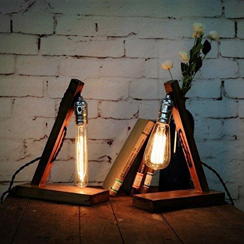 Pegasus Madera retro altillo uk enchufe e27 lámpara de mesa de ...