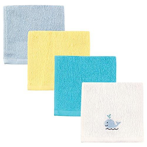 Luvable Friends Super-Soft 4 Piece Washcloths, Boy Whale, One Size