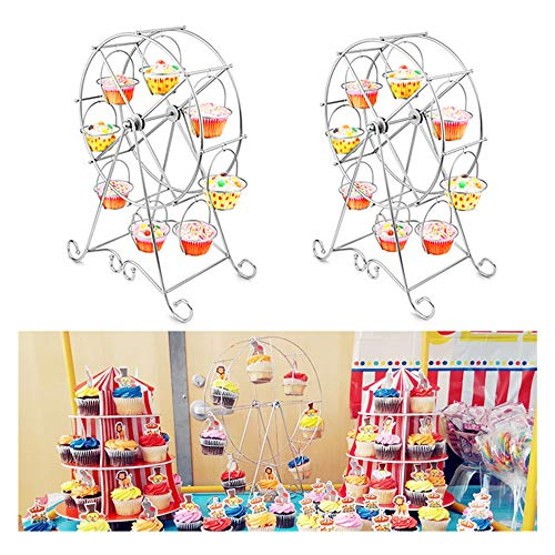 Hofumix Ferris Wheel Cupcake Holder Carnival Decorations Metal Dessert Serving Tray 8 Cupcakes Display Stands for Circus Party Birthday Wedding 17inch 1Pack (Decoration Wheel Ferris)