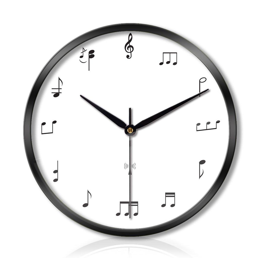 LINGZHIGAN 時計と時計リビングルームのベッドルームクリエイティブな金属の壁時計ミュートスキャンスマートな電気時計の3つの世代 (色 : Black, サイズ さいず : 12インチ) B07C9YR58L 12インチ|Black Black 12インチ