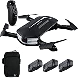 JJRC H37 Mini Baby Selfie Gravity Sensor RC Drone 720P HD Camera Live Video WiFi FPV Foldable Quadcopter Arms Altitude Hold Headless Mode, Bonus Battery Hand Bag