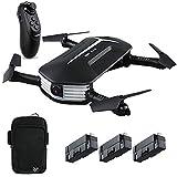 JJRC H37 Mini Baby Selfie Gravity Sensor RC Drone 720P HD Camera Live Video WiFi FPV Foldable Quadcopter Arms Altitude Hold Headless Mode, Bonus Battery Hand Bag