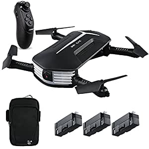 JJRC H37 Mini Baby Selfie Gravity Sensor RC Drone with 720P HD Camera Live Video Wifi FPV Foldable Quadcopter Arms Altitude Hold Headless Mode, Bonus Battery and Hand Bag
