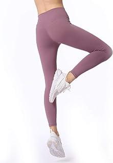 ZMJY Medias Pantalones de Yoga, Leggings para Mujeres Que Sudan y Sudan, Pantalones de Gimnasio de Cintura Alta, para Entrenar, Caminar, Bailar, Entrenar, Correr y Correr,Powder,L