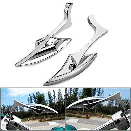 Astra Depot Motorcycle Chrome Spear Blade Mini Side Mirrors for Harley Davidson Sportster Dyna Softail SMT-MOTO