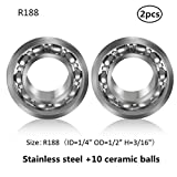 R188 Stainless steel mixed ceramic ball bearings Si3N4 6.35x12.7x4.762mm (2-pack)