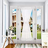 Deconovo Home Fashion Lightweight Rod Rocket French Door Sheer Voile Curtain Solid Sheer Door Curtains with Tieback 60x72 inch 2 Panels White