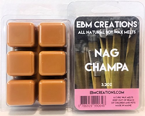 Nag Champa - Scented All Natural Soy Wax Melts - 6 Cube Clamshell 3.2oz Highly Scented! ()