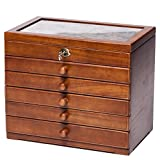 Clover Carved 6 Layer Wooden Jewelry Box and Lock