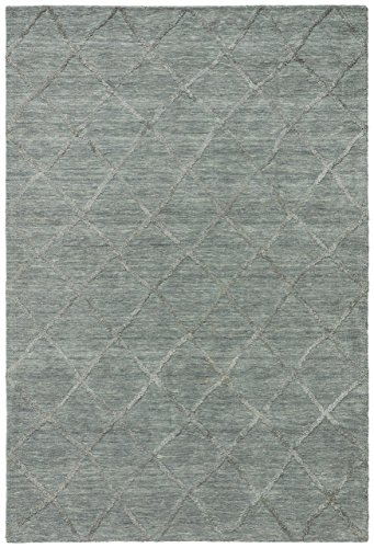 Stone & Beam Modern Textured Pattern Farmhouse Wool Area Rug, 8 x 10 Foot, Denim