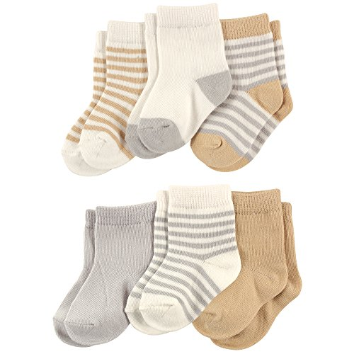 Touched by Nature Baby Organic 6 Pack Cotton Socks, Neutral Stripes, 6-12 Months
