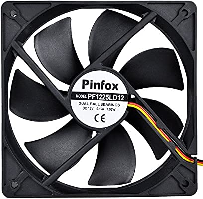 Pinfox 12V DC 120mm Quiet Cooling Fan Silent, Variable Speed Control by 5V  to 12V Input, Dual Ball Bearings 3 Pin for PC Computer Case, Home Theater