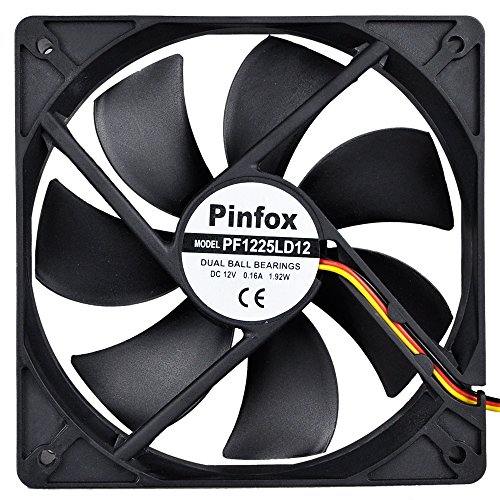 Pinfox 12V DC 120mm Quiet Cooling Fan, Variable Speed Control By 5V To 12V Input, Dual Ball Bearings 3 Pin for PC Computer Case, Home Theater Cabinet, Receiver DVR Xbox, Incubator by Pinfox