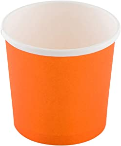 Bio Tek 12 Ounce Disposable Soup Cups, 200 Microwavable Paper Soup Cups - Vented Lids Sold Separately, Hot And Cold Foods, Orange Paper To Go Soup Containers, For Desserts Or Treats - Restaurantware