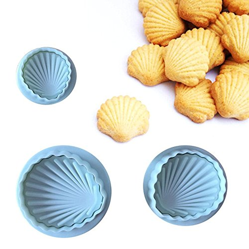 Cookie Cutter Plunger - 3 Pieces/Set Shell Shape Spring Cookie Tools Plastic Plunger Cutters Biscuit Paste Sugar Press Molds Cake Decorating Tool]()