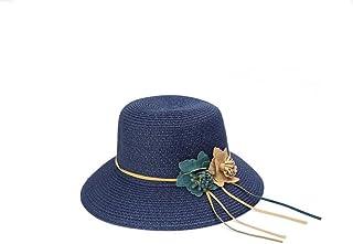 ZXCVBM Verano Nuevo Sólido Floppy Sombreros De Paja para Mujeres Accesorios De Flores para Mujer Verano Playa Sombreros De Sol Sombrero De Estilo De Panamá
