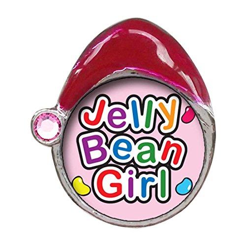 Cartoon Theme Light Rose Crystal October Birthstone Santa Hat Charms, Jelly Bean Girl Easter