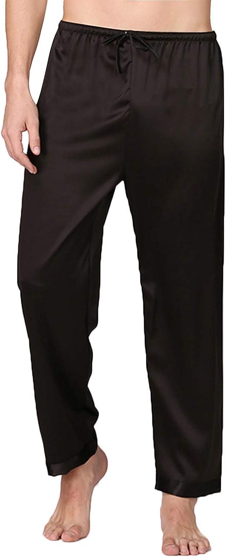 Haseil Men's Luxury Silk Satin Pajama Pyjama Pants Long PJ Bottoms