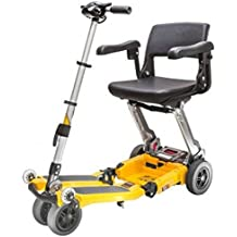 Free Rider USA - Luggie Elite - Compact Lightweight Foldable Scooter - 4-Wheel - Yellow