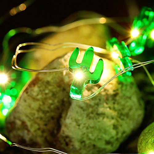 10 ft 30 Lights LED Copper Wire String Lights,Pine nuts /Sunflower/Green Cactus/Pink Rabbit Shape Fairy Lights Decoration Festival Party Home Public Place Deco Light Battery Operate (Green Cactus) by Plymist (Image #2)