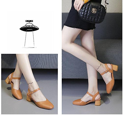 New Sandals Pumps Round Thick 2017 Shoes Toe High Female Summer yellow Fashion Women Strap Buckle Heels Ankle Heel Pump Single EgXqUxxA