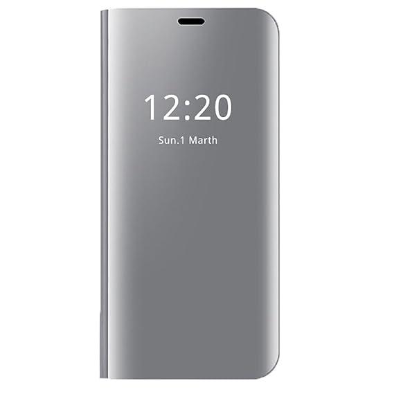 Wouier Carcasa iPhone 7 Flip Cover Soporte Plegable Cierre Magnético casa Delgado Metal Espejo Funda Protección Duro Función