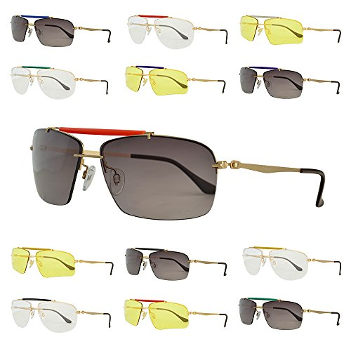 Bnus Bnus Mens Outdoor Sport Casual Sunglasses, 3 Color Interchangeable Lenses 62mm B6398 (Gold, Grey)