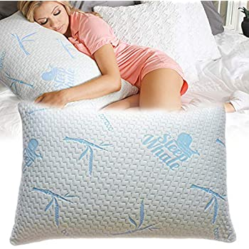 Sleep Whale - Premium Adjustable Shredded Memory Foam Pillow Derived from Bamboo - Luxury Design - Queen