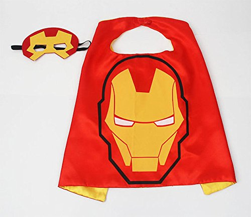 [Superhero Halloween Party Cape and Mask Set for Kids Iron Man] (Iron Man Shirt And Mask Costumes)