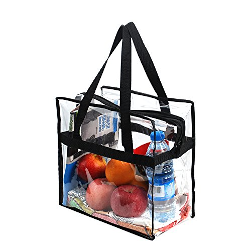 Magicbags 12X12X6 Stadium Approved Clear Tote Bag, Sturdy PVC Construction Zippered Top, Stadium Security Travel & Gym Clear Bag, Perfect for Work, School, Sports Games and Concerts