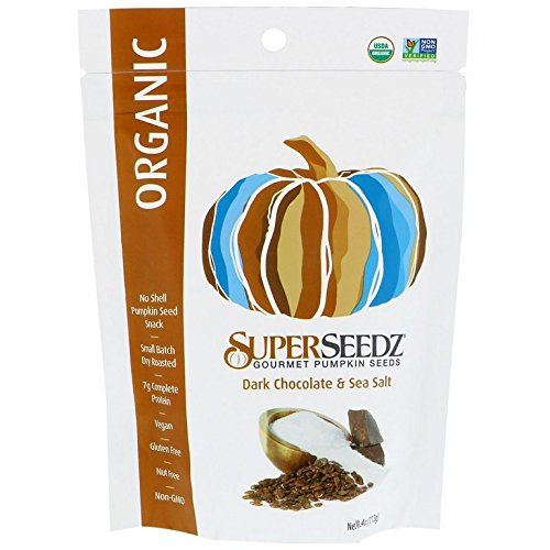 SUPERSEEDZ, Pmpkn Sdz, Og2, Dchoc, Sslt, Pack of 6, Size 4 OZ, (Gluten Free GMO Free Vegan Wheat Free 95%+ Organic)