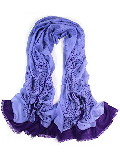 Dahlia Women's 100% Merino Wool Pashmina Scarf - Wishing Tree - Purple