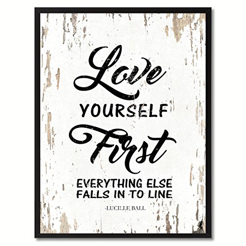SpotColorArt Love Yourself First Everything Falls Into Line Framed Canvas Art 7
