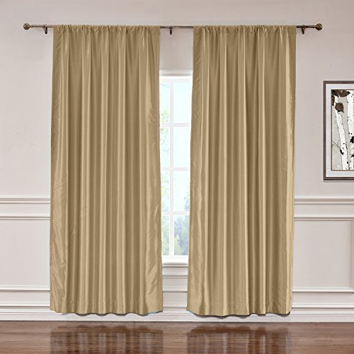 ChadMade Soundproof Energy Saving Polyester Cotton Silk Solid Curtain Taupe 120