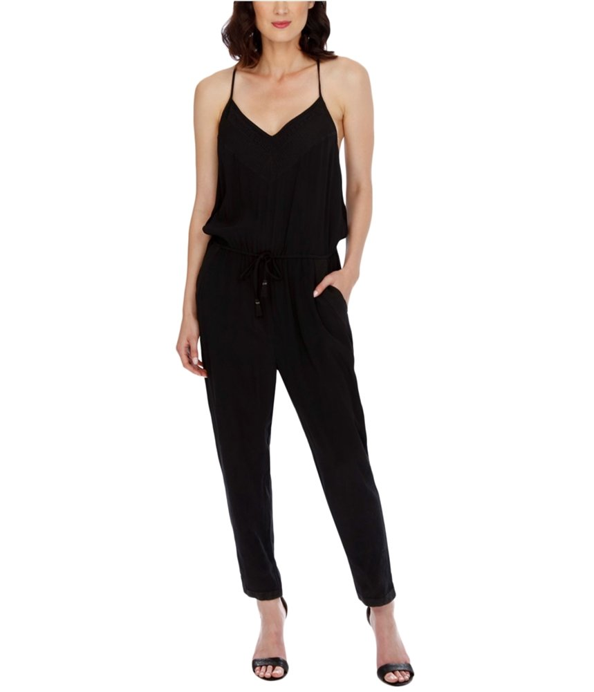 Lucky Brand Women's Embroidered Jumpsuit, Jet Black, X-Large