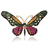 iDMSON Clear Rhinestone Butterfly Brooch Pin - Colorful Crystal Gold Plated Animal Enamel Lapel Pin For Women (Style 2)