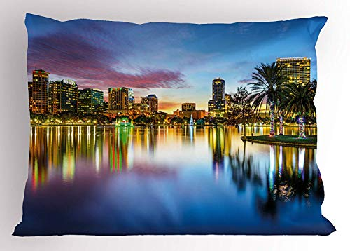 K0k2t0 Modern Pillow Sham, Famous USA Urban Downtown View of Orlando Florida EOLA Lake Romantic Scene Print, Decorative Standard Queen Size Printed Pillowcase, 30 X 20 inches, Blue Yellow ()