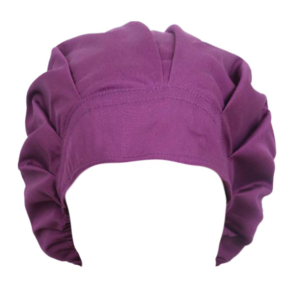 Opromo Cotton Bleach Friendly Banded Adjustable Scrub Cap Sweatband Bouffant Hat-Purple
