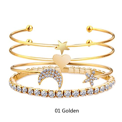 JaneDream 4PCS/Set Women Bohemian Vintage Crystal Moon Stars Heart Cuff Bracelets Bangles Simple Classic Gold