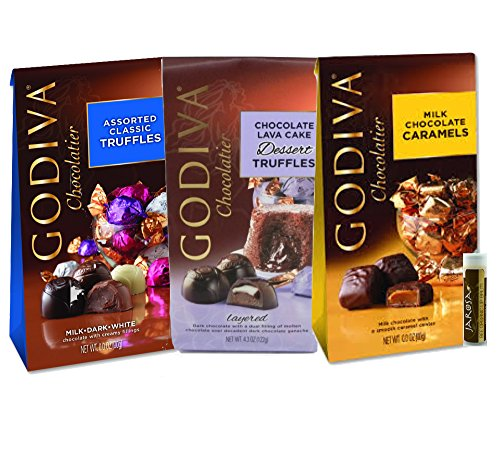 Godiva Chocolatier Wrapped Gem Truffles Gift Set of 3 Bags - Assorted Classic Truffles, Chocolate Lava Cake Dessert Truffles & Milk Chocolate Caramels with a Jarosa Chocolate Bliss Lip Balm