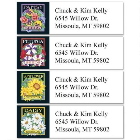 Seed Packet Florals Small Return Address Labels (4 Designs) - Set of 240 2