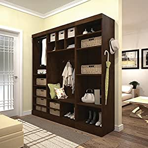 """Bestar Furniture 26873-69 Pur 86"""" Mudroom Kit with 20 Open Storage Sections and Bench in"""