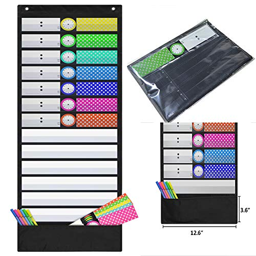Daily Schedule Pocket Chart Class Schedule with 13 Cards 3+1 Pockets 7 Colored + 6 Blank (Black)