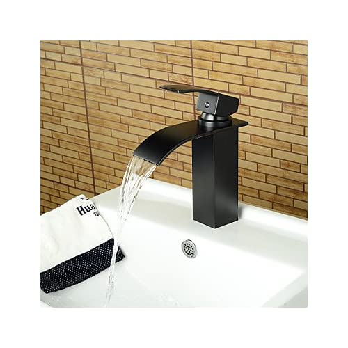 W&P Modern copper single handle single hole bathroom sink faucet hot and cold water-black hot sale 2017