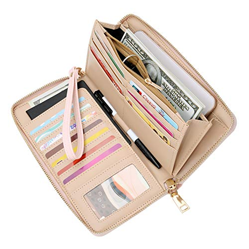 WOZEAH Women's RFID Blocking PU Leather Zip Around Wallet Clutch Large Travel Purse (pink) - Ladies Pink Leather Strap