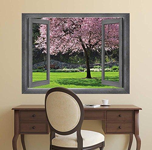 Open Window Creative Wall Decor View of a Tranquil Garden Wall Mural